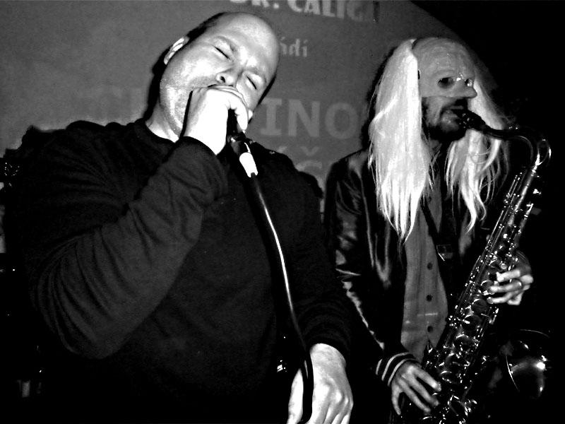 Marek Sobola za doprovodu Kabaretu Dr. Caligariho. Les - Krákor retrospektiva, 29. a 30. listopadu 2013, Brno - klub Boro, foto Ivoš Krejzek