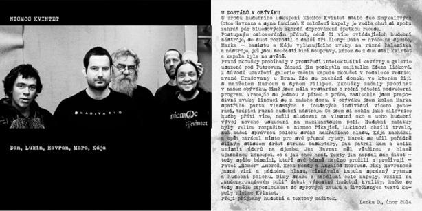 NicMoc Kvintet - ukázka sazby bookletu CD Nic moc nečekejte
